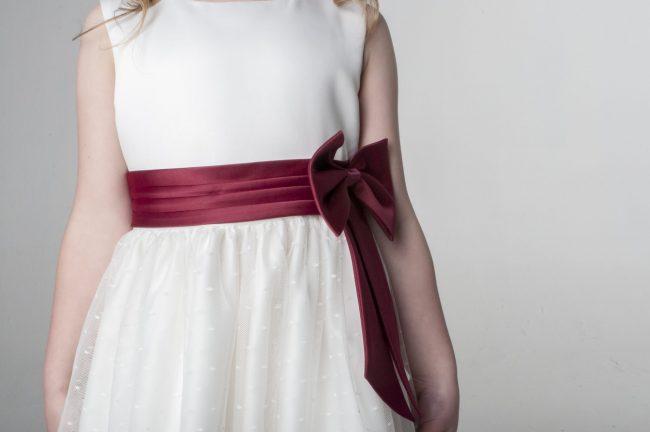Visara Bow Dress in Wine V340-41
