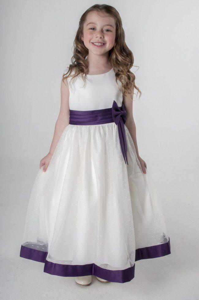 Visara Bow Dress in Purple V340-48