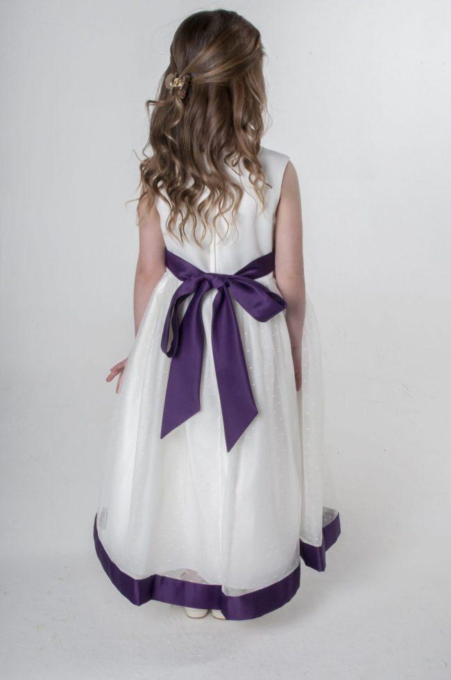 Visara Bow Dress in Purple V340-45