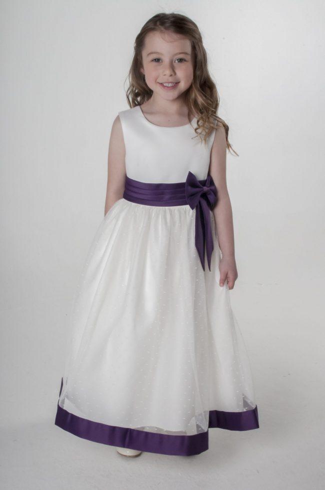 Visara Bow Dress in Purple V340-0