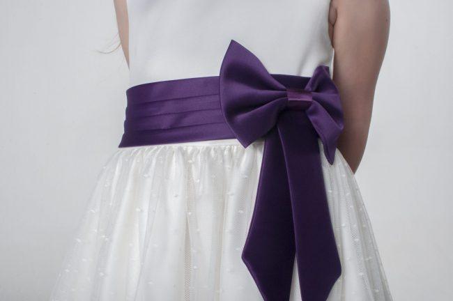 Visara Bow Dress in Purple V340-46