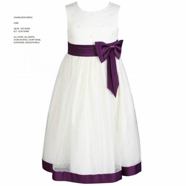 Visara Bow Dress in Purple V340-8
