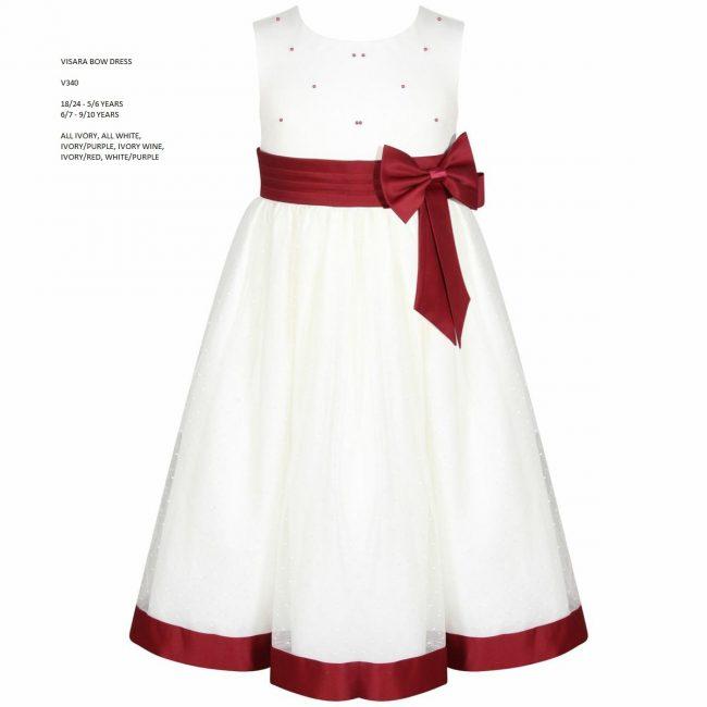 Visara Bow Dress in Wine V340-12