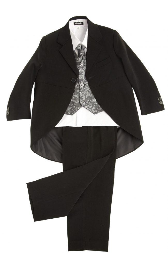 Vivaki 5 Piece Silver Paisley Tail Suit -75