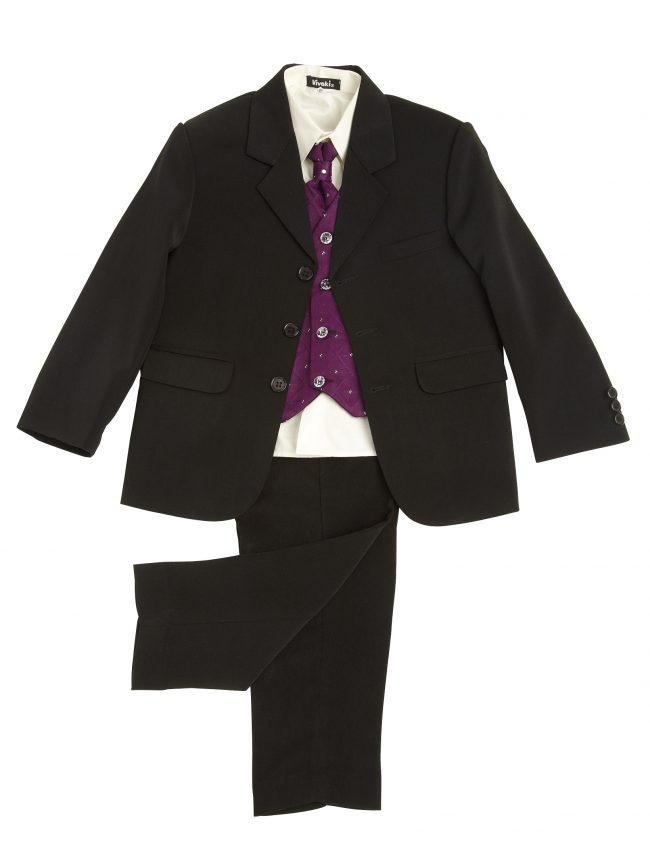 Vivaki 5 Piece Dobby Suit in Purple-57