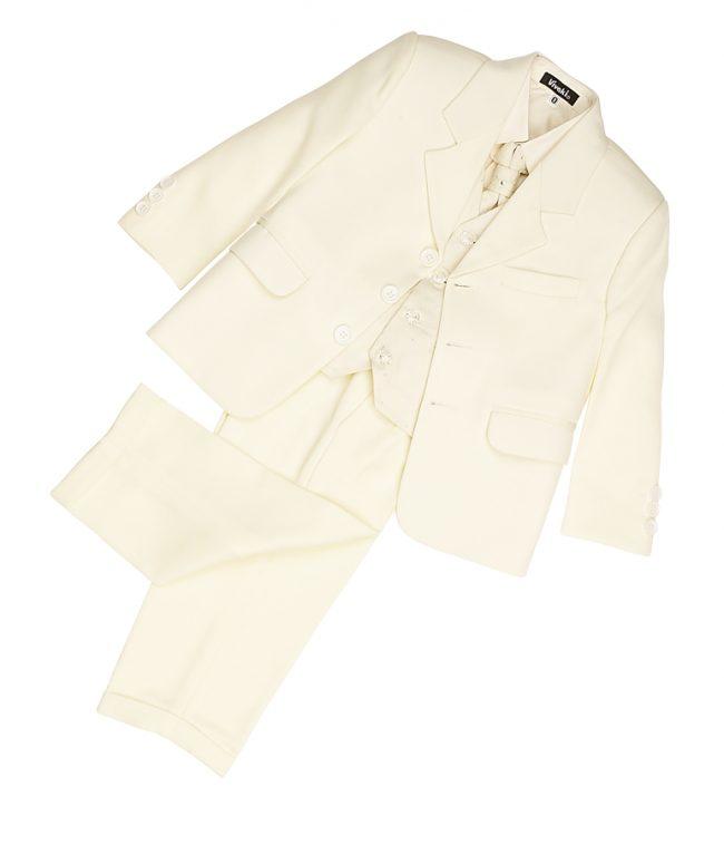Vivaki 5 Piece Dobby Suit in All Cream-163