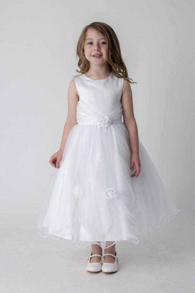 Visara Rose Dress In White V349-0