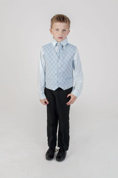 Vivaki 4 Piece Dobby Suit in Blue-0