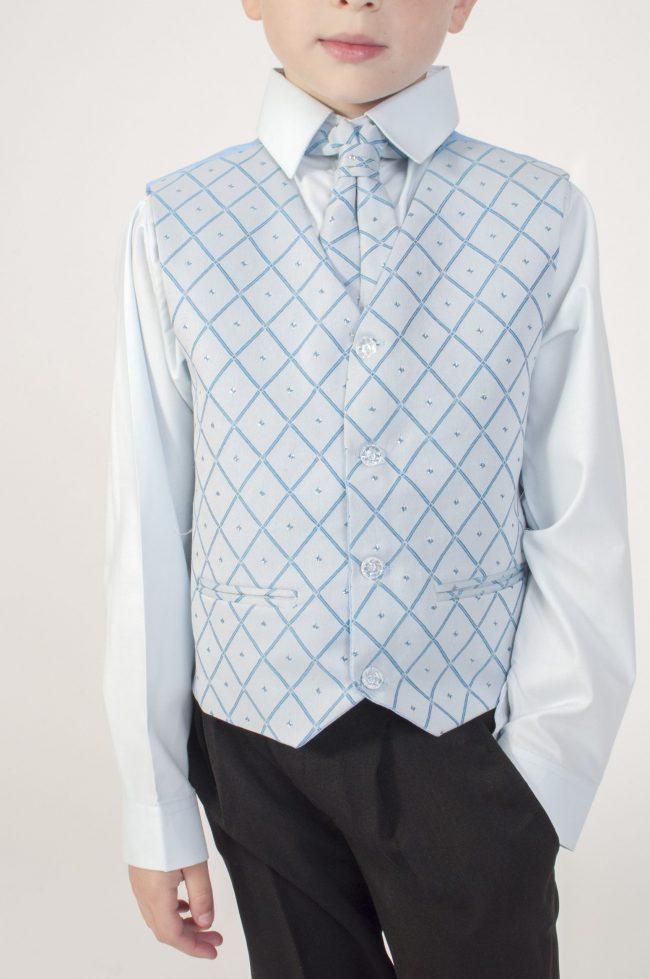 Vivaki 4 Piece Dobby Suit in Blue-841