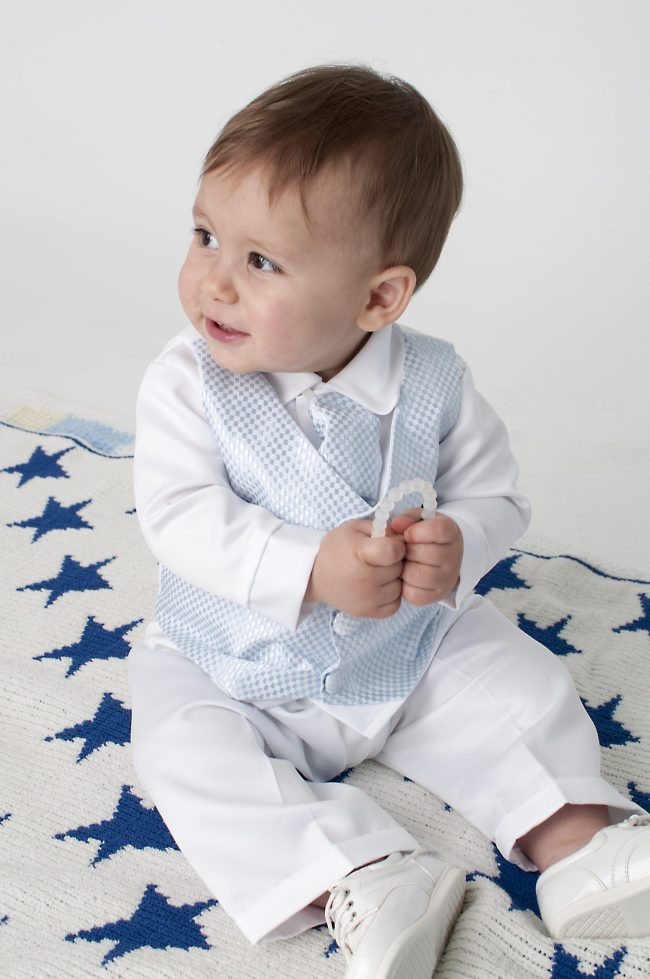 Boys Vivaki Checked Christening Suit in Blue-503
