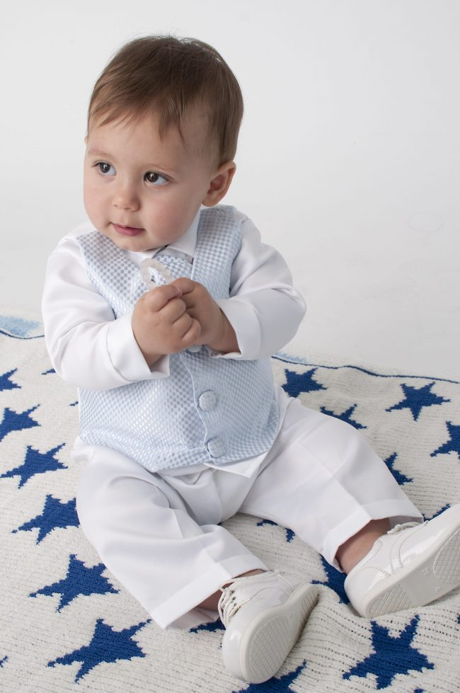 Boys Vivaki Checked Christening Suit in Blue-504