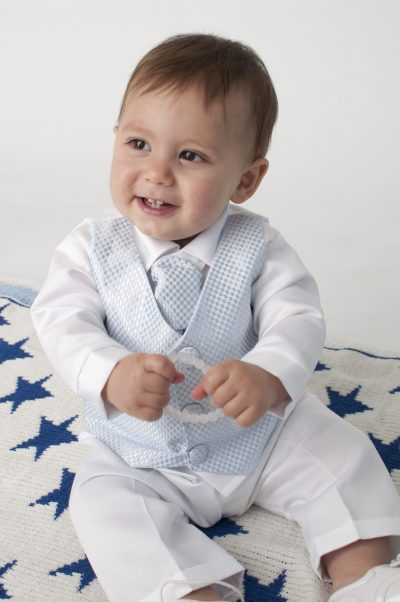 Boys Vivaki Checked Christening Suit in Blue-0