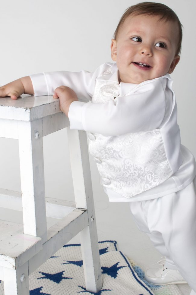 Boys Vivaki Paisley Christening Suit in White-493