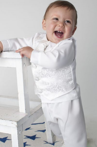 Boys Vivaki Paisley Christening Suit in White-0