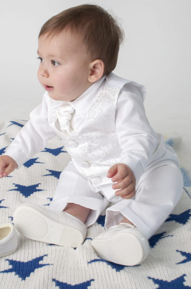 Boys Vivaki Paisley Christening Suit in White-492