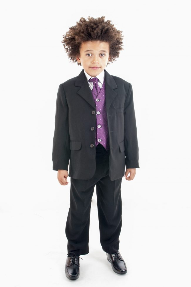 Vivaki 5 Piece Dobby Suit in Purple-0