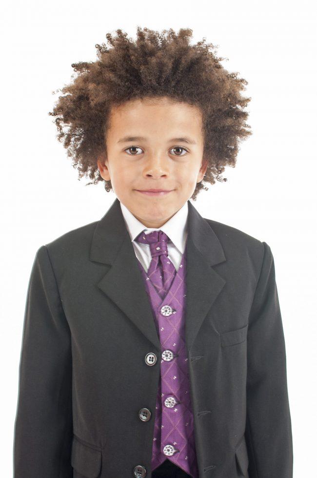 Vivaki 5 Piece Dobby Suit in Purple-853
