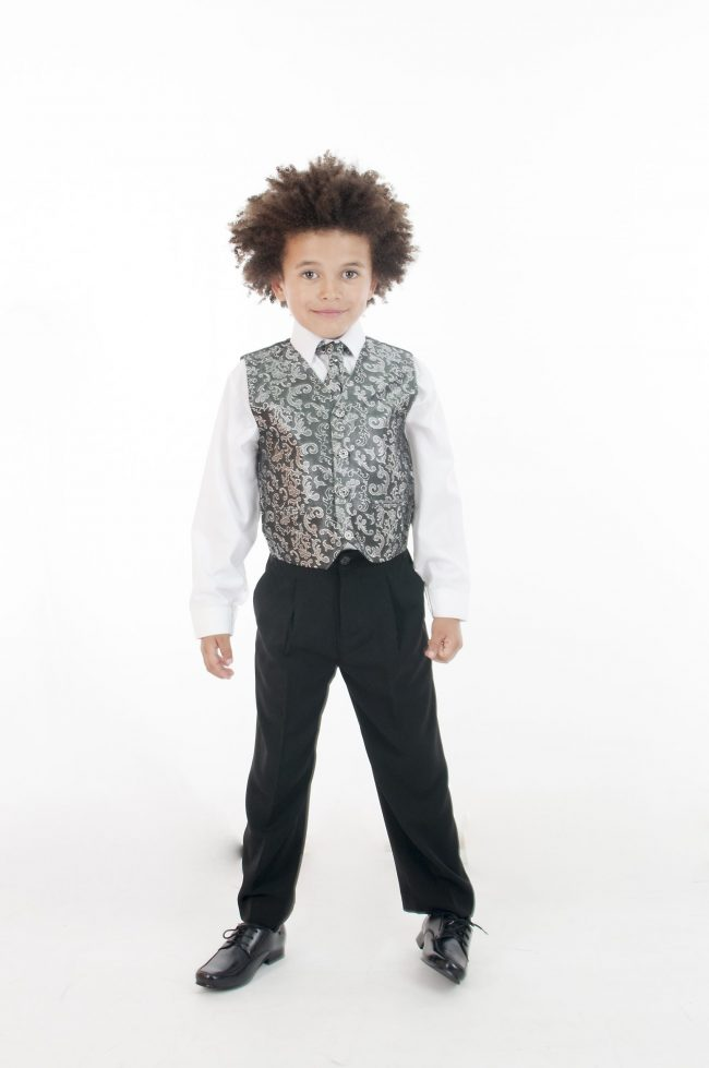 Vivaki 5 Piece Paisley Suit in Silver-881