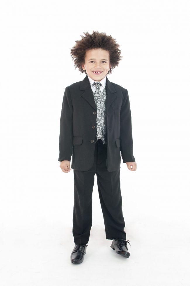 Vivaki 5 Piece Paisley Suit in Silver-0