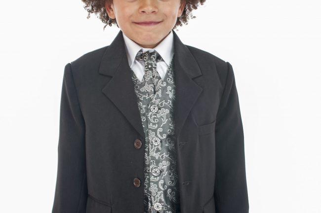 Vivaki 5 Piece Paisley Suit in Silver-882