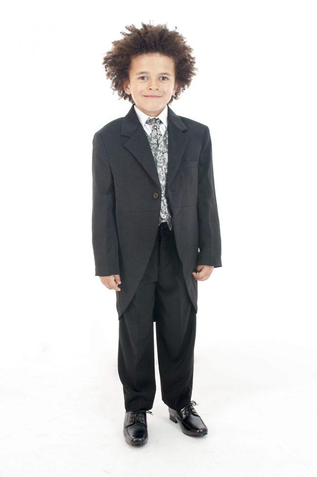 Vivaki 5 Piece Silver Paisley Tail Suit -0