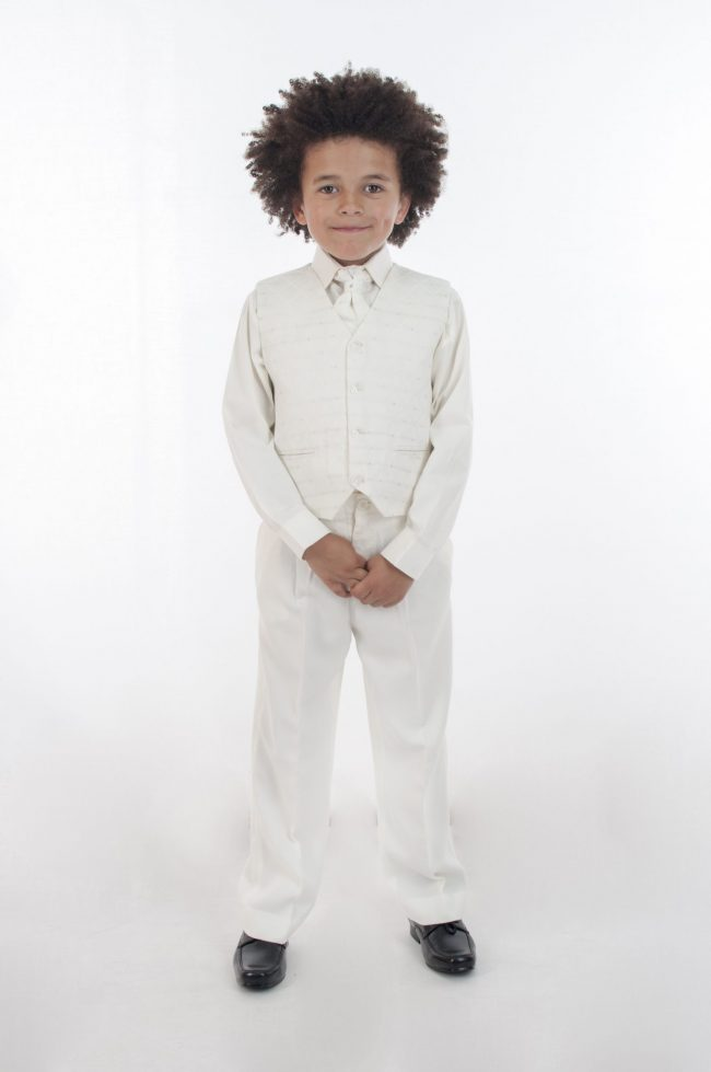 Vivaki 5 Piece Dobby Suit in All Cream-816