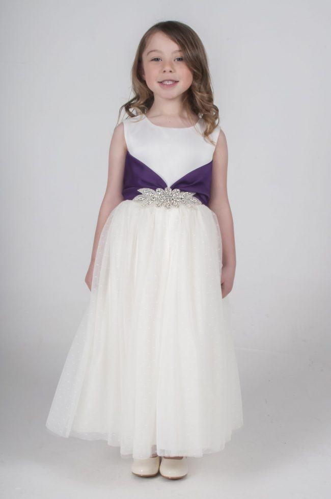 Visara Broach Dress In Purple V341-0