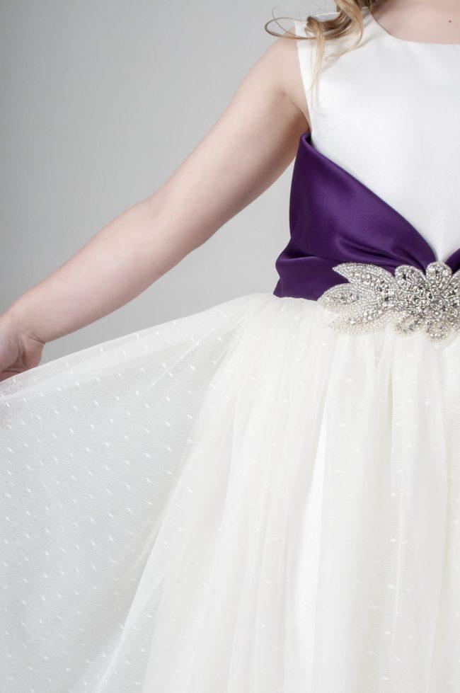 Visara Broach Dress In Purple V341-29
