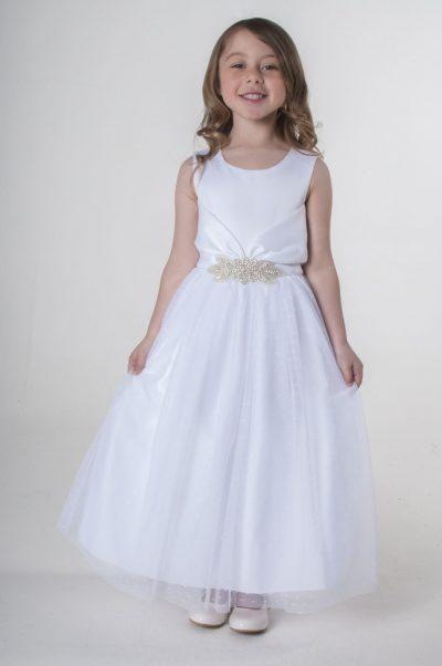 Visara Broach Dress In White V341-0