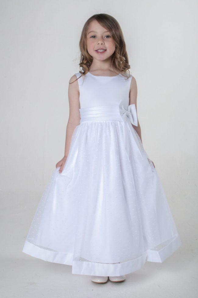 Visara Bow Dress In White V340-0