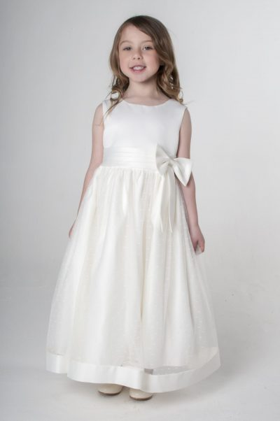 Visara Bow Dress in Ivory V340-0