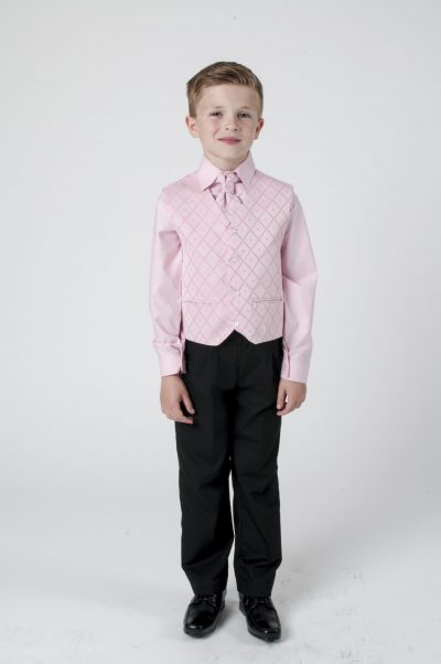 Vivaki 4 Piece Dobby Suit in Pink-0