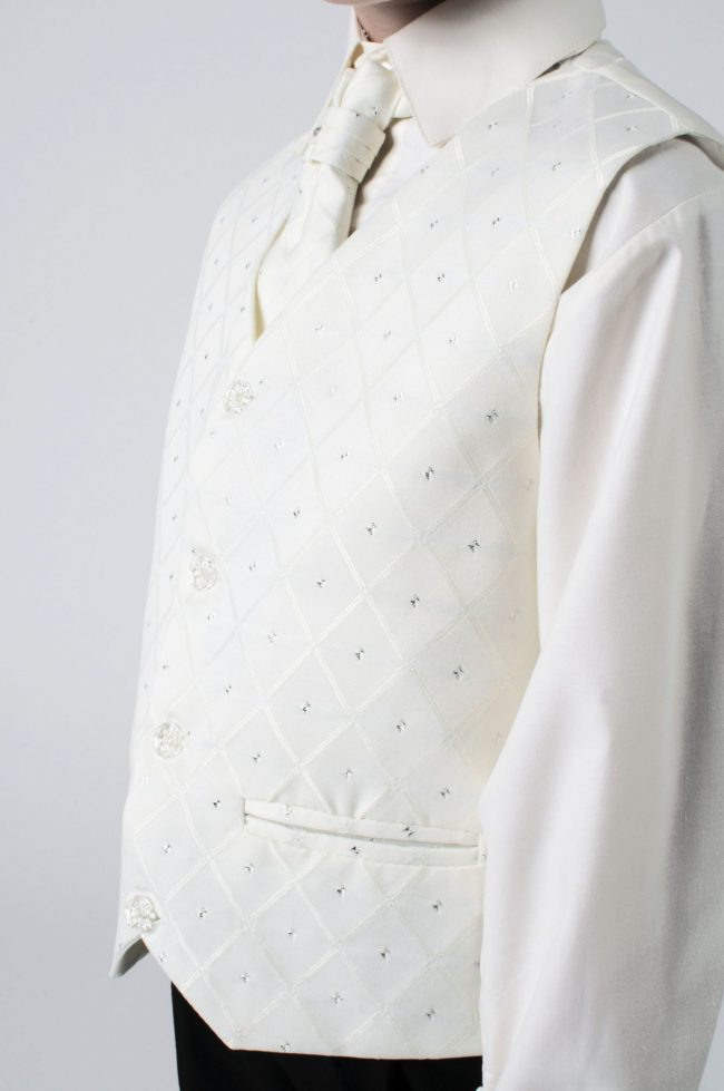 Vivaki 5 Piece Dobby Suit in Cream-845