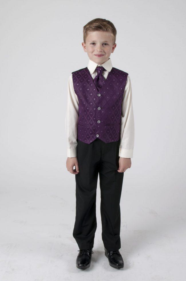 Vivaki 4 Piece Dobby Suit in Purple-0
