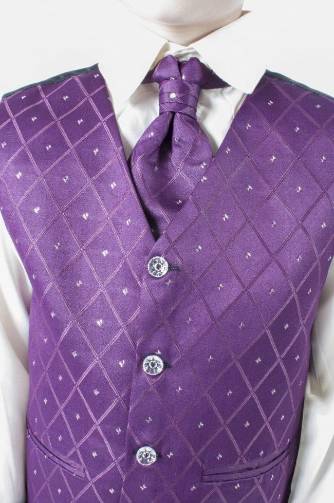 Vivaki 5 Piece Dobby Suit in Purple-850