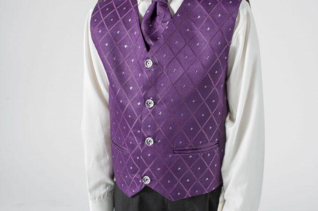 Vivaki 4 Piece Dobby Suit in Purple-392