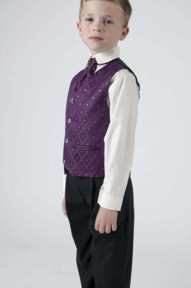 Vivaki 4 Piece Dobby Suit in Purple-389
