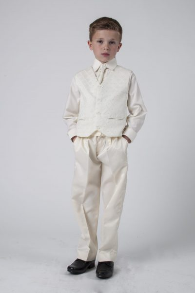 Vivaki 4 Piece Dobby Suit in All Cream-0