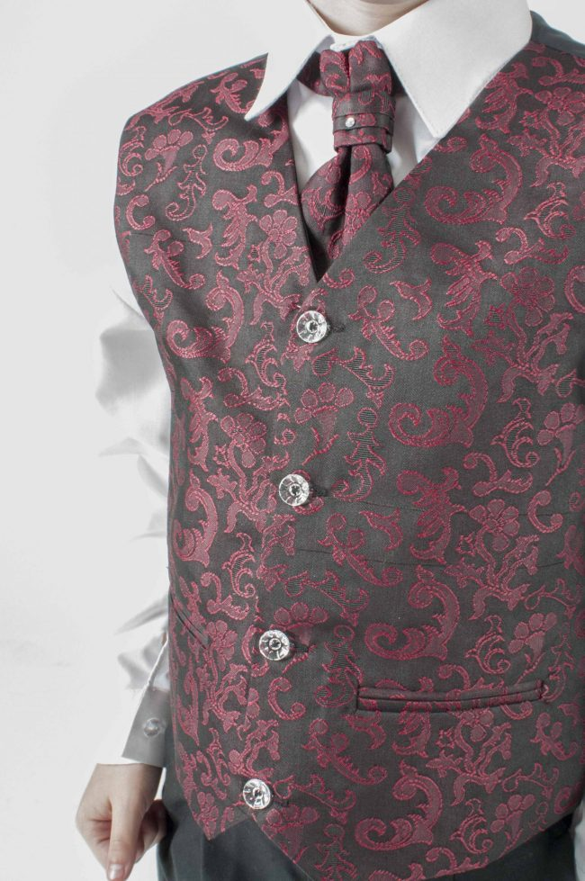Vivaki 4 Piece Paisley Suit in Wine-431