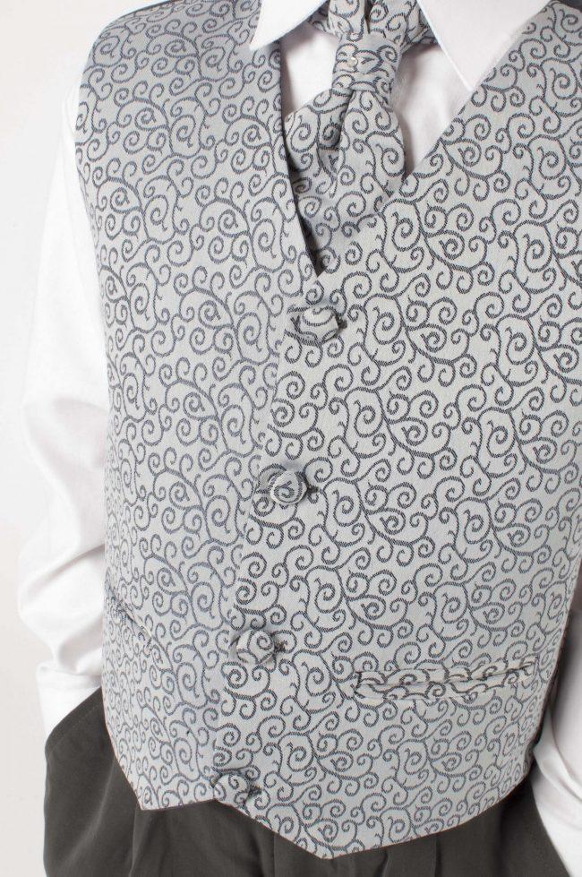 4 Piece Vivaki Swirl Suit in Grey-435