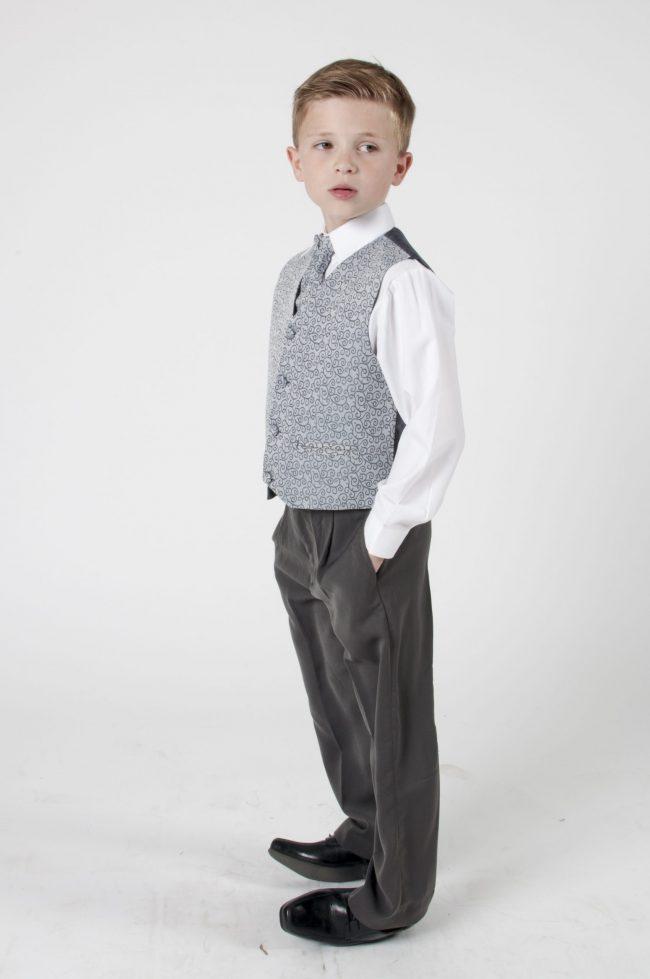 4 Piece Vivaki Swirl Suit in Grey-438