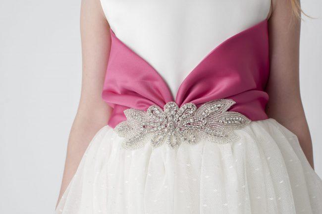 Visara Broach Dress In Pink V341-348