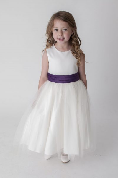 Visara Sash Dress In Purple V353-0