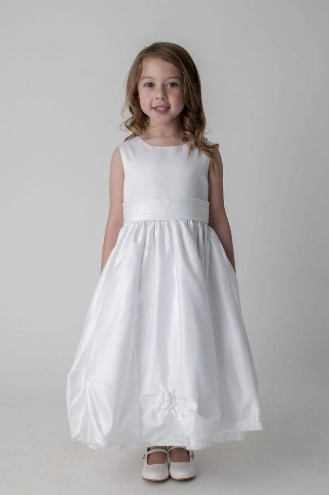 Visara Rosebud Dress In White W325-0