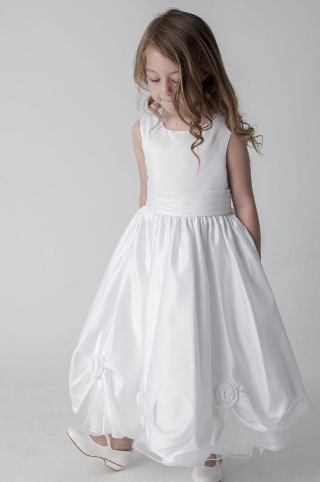 Visara Rosebud Dress In White W325-358
