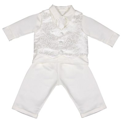 Boys Vivaki Paisley Christening Suit in Ivory-0