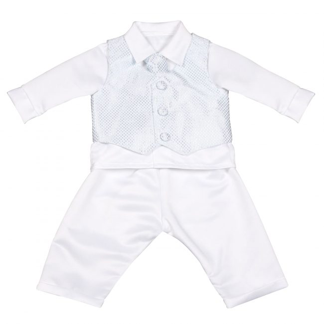 Boys Vivaki Checked Christening Suit in Blue-102