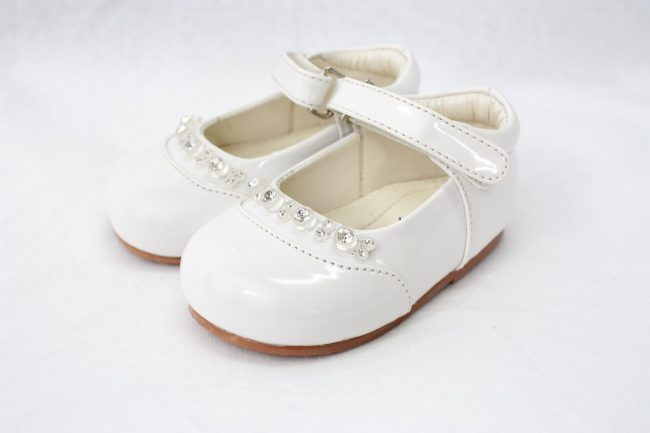 Girls Early Steps Diamond Shoes in White-0