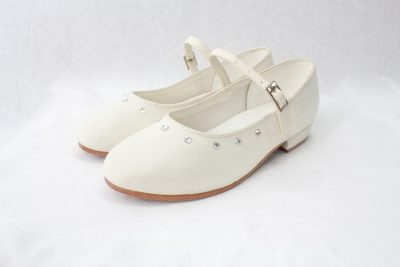 Girls Visara Satin Shoes in Cream-0