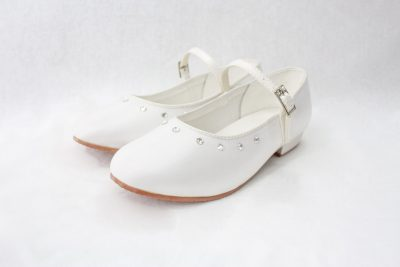 Girls Visara Satin Shoes in White-0